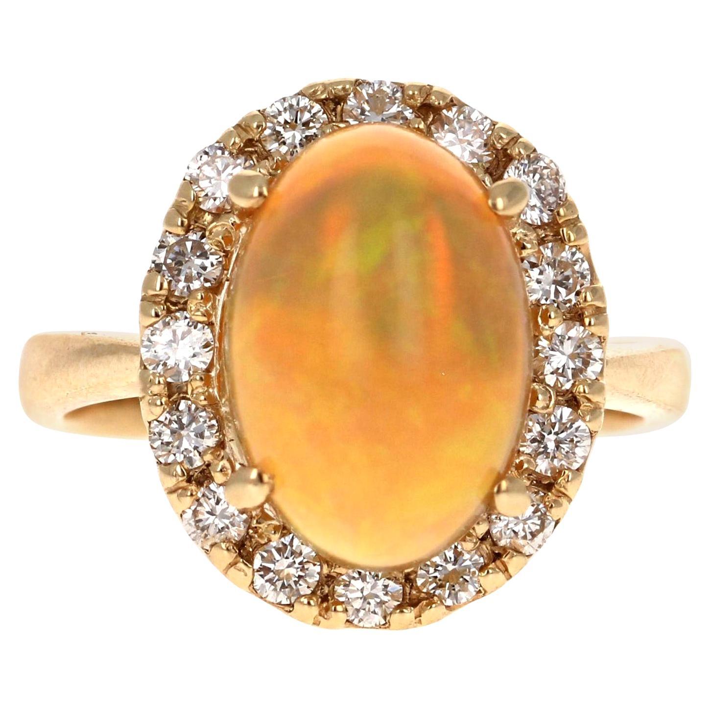 Opal Diamond 14 Karat Yellow Gold Halo Ring