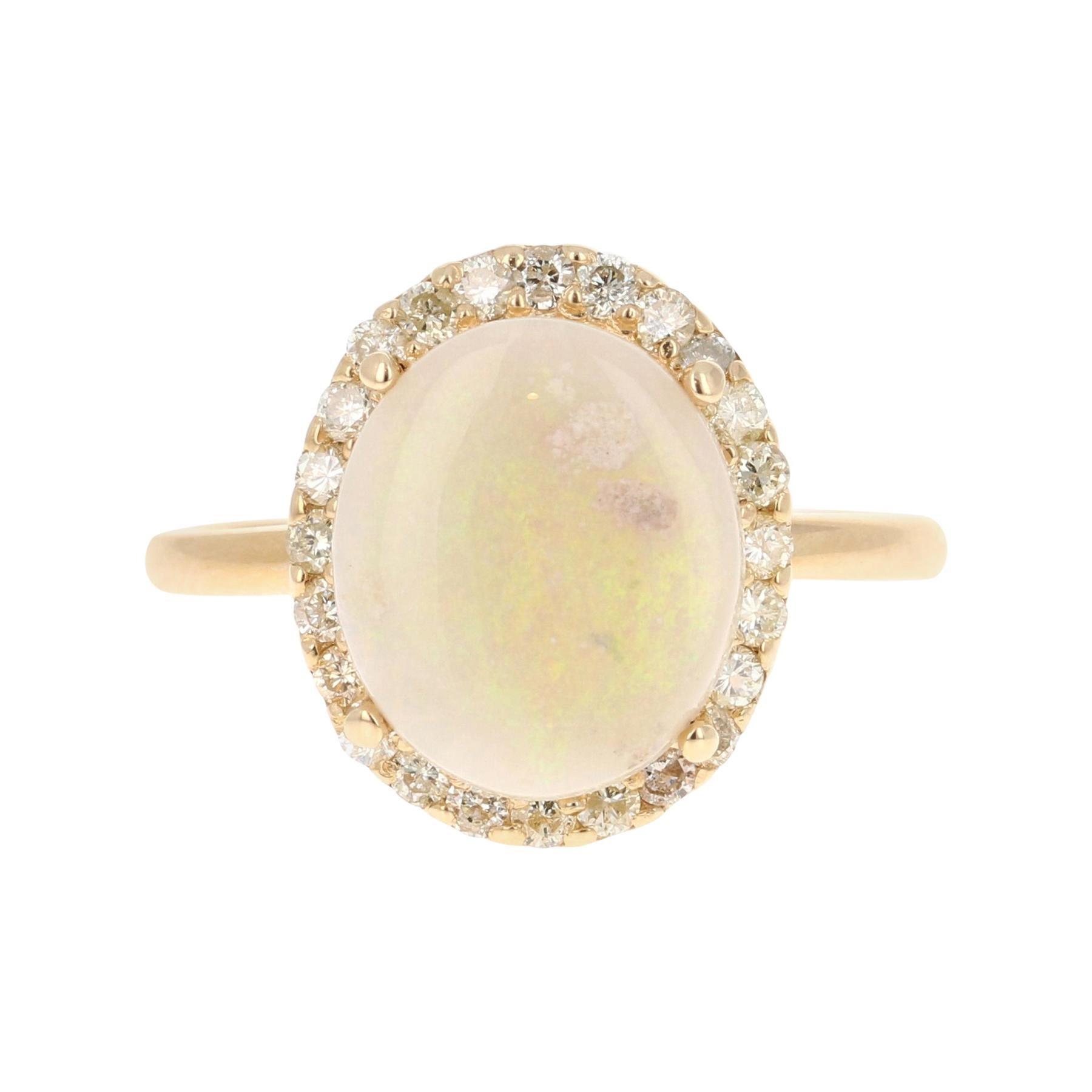 Opal Diamond 14 Karat Yellow Gold Ring
