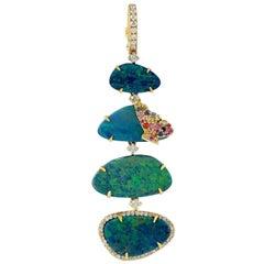 Opal Diamond 18 Karat Gold /Butterfly Pendant Necklace