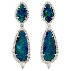 Opal Diamond 18 Karat Gold Earrings