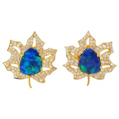 Opal Diamond 18 Karat Gold Palm Leaf Stud Earrings