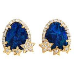 Opal Diamond 18 Karat Gold Star Stud Earrings