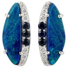 Opal Diamond 18 Karat Gold Stud Earrings
