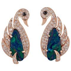 Opal Diamond 18 Karat Gold Swan Stud Earrings