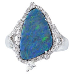 Opal Diamond 18 Karat White Gold Ring