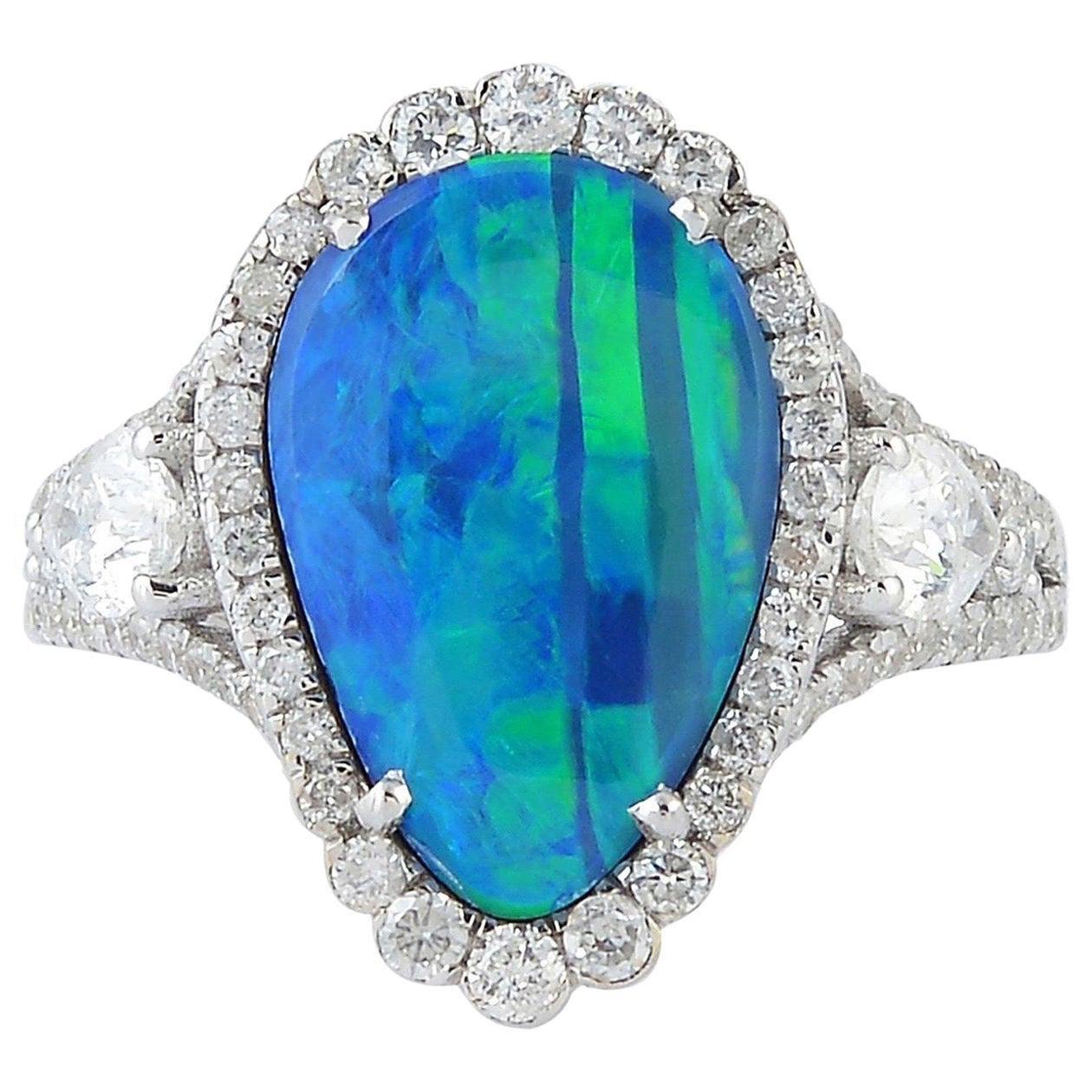 Opal Diamond 18 Karat White Gold Ring