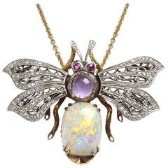 Opal, Diamond and Amethyst Bee Pendant