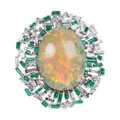 Opal Diamond and Emerald Ring