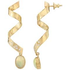 Opal Diamond and Gold Fancy Dress Twist Earrings