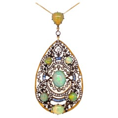 Opal Diamond and Sapphire Pendant Necklace Estate Fine Jewelry