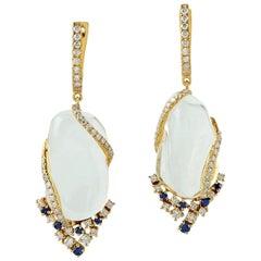 Opal Diamond Blue Sapphire 18 Karat Gold Earrings