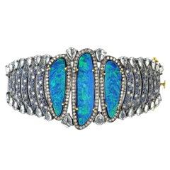 Opal Diamond Bracelet Cuff