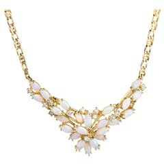Opal Diamond Cluster Necklace Vintage 14 Karat Yellow Gold Choker Spray Jewelry