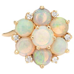 Opal Diamond Cluster Ring Vintage 14k Yellow Gold Cocktail Jewelry Estate Round