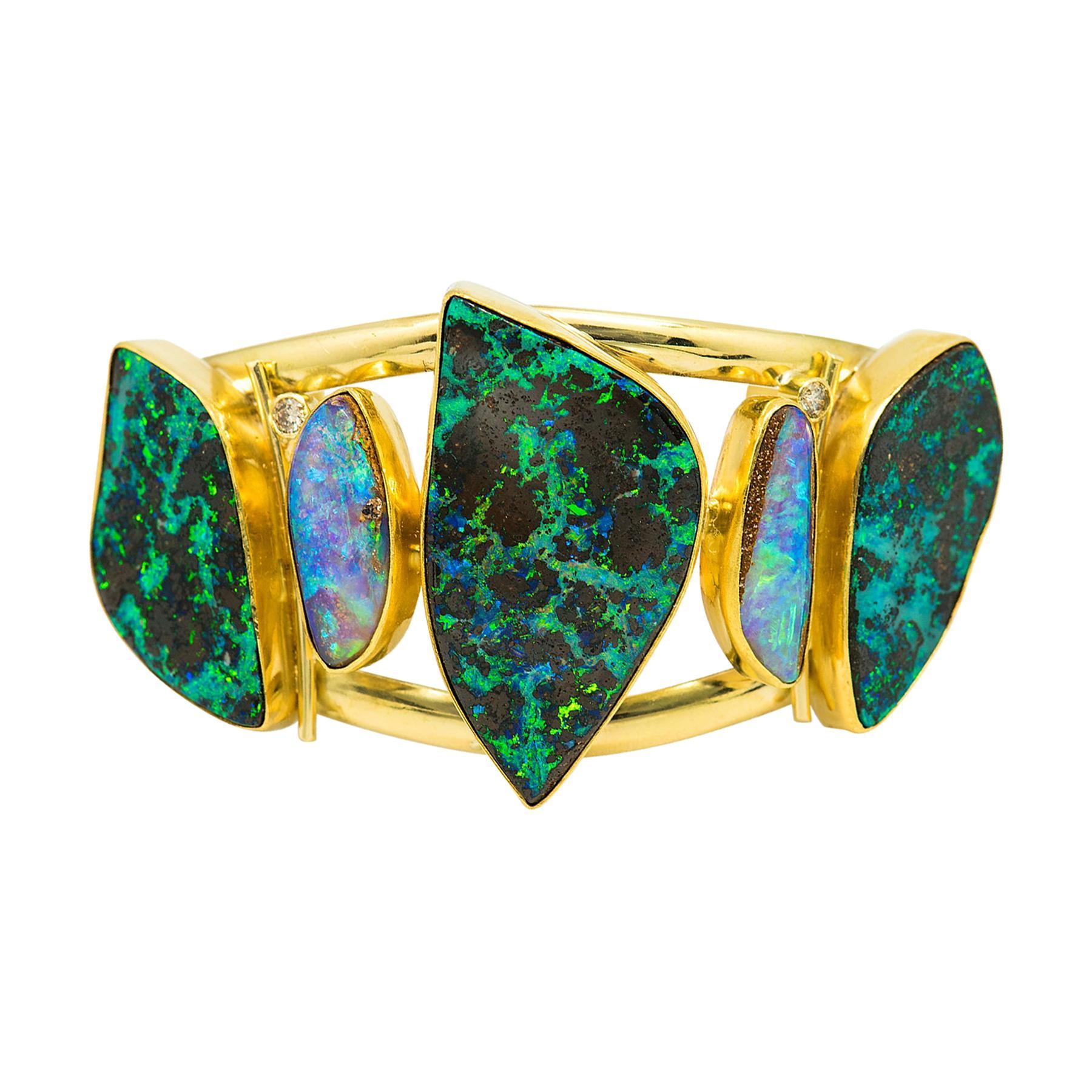 Boulder Opal Diamond Cuff Bracelet 22k 18k Gold