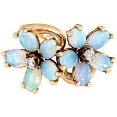 Opal Diamond Double Flower Ring Moi et Toi 14 Karat Yellow Gold Vintage Jewelry