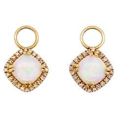 Opal Diamond Earring Charms 14KTY with .1.3 Carat Gemstones, for Huggie Ear