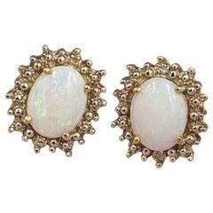 Opal Diamond Earrings 14 Karat Gold Estate