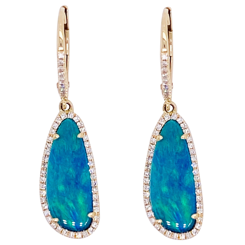 Opal Diamond Earrings, Dangles, 14 Karat Gold, Blue Opal, Dangle Earring, Drop