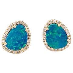Opal Diamond Earrings, Genuine Opal, Diamond Halo .91 Carat Stud Earrings
