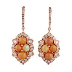 Opal & Diamond Earrings Studded in 18k Rose Gold