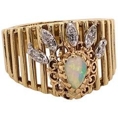 Opal Diamond Gold Crown Ring