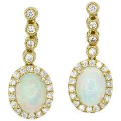 Opal Diamond Halo Drop Earrings 2.32 Carat 14 Karat