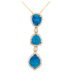 Opal Diamond Necklace, Black Opal 3 Station Pendant, 14 Karat Gold Drop Necklace