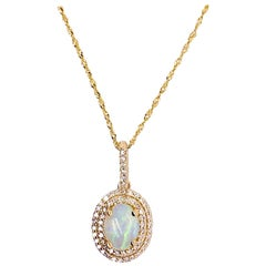 Opal Diamond Necklace, Double Halo Opal Pendant, Yellow Gold, Sparkly Chain