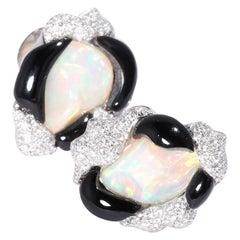 Opal Diamond Onyx Earrings
