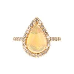 Opal Diamond Pear Cut 14 Karat Yellow Gold Ring