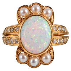 Opal Diamond Pearl Crown Ring