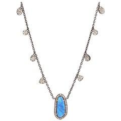 Opal Diamond Pendant Necklace