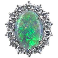 Opal Diamond Platinum Estate Cocktail Ring