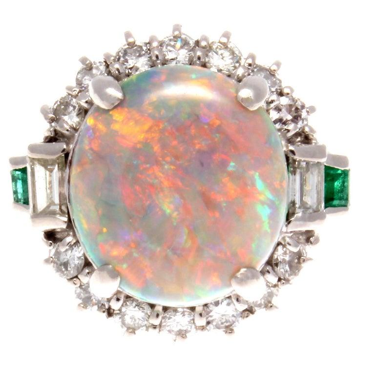 Opal Diamond Platinum Ring