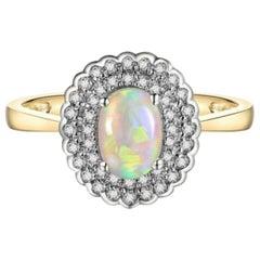 Opal Diamond Ring 14 Karat Yellow Gold