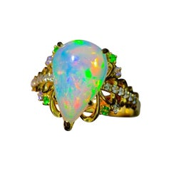 Opal Diamond Ring 18K Yellow Gold