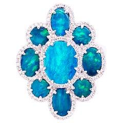 Opal Diamond Ring, Black Opal, 18k White Gold, Fashion, Blue Green Opal Ring