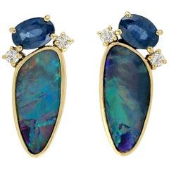 Opal Diamond Sapphire 18 Karat Gold Stud Earrings