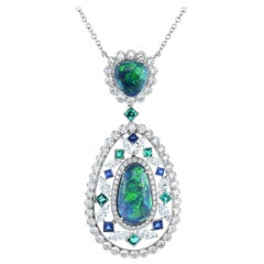 Cicada Opal, Diamond, Sapphire, Emerald, Platinum Pendant Necklace