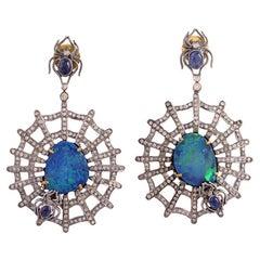 Opal Diamond Spider Web Earrings
