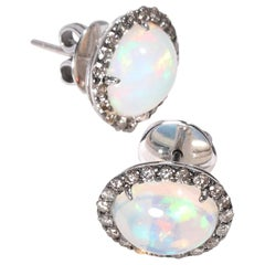 Opal Diamond Stud Earrings