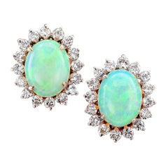 Opal Diamond White Gold Stud Earrings