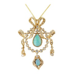 Opal Diamond Yellow Gold Brooch Pendant