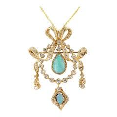 Opal Diamond Yellow Gold Brooch Pendant