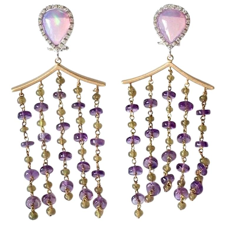 Opal Diamonds Amethyst Vesuvianite 18 Karat Gold Pagoda Earrings