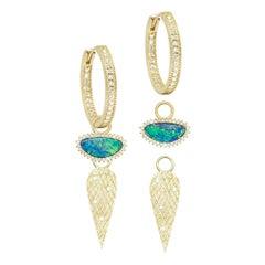 Opal Doublet Diamond 18 Karat Convertible Hoop Earrings