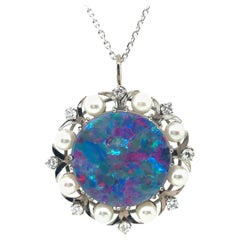 Opal Doublet Diamond Pearl White Gold Pendant