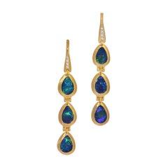 Opal Doublet Hinged Teardrops Bezel Set in 18k Heavy Matte Yellow Gold
