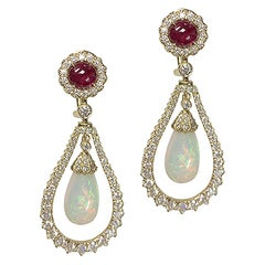 Opal Drops and Ruby Earrings with Diamonds